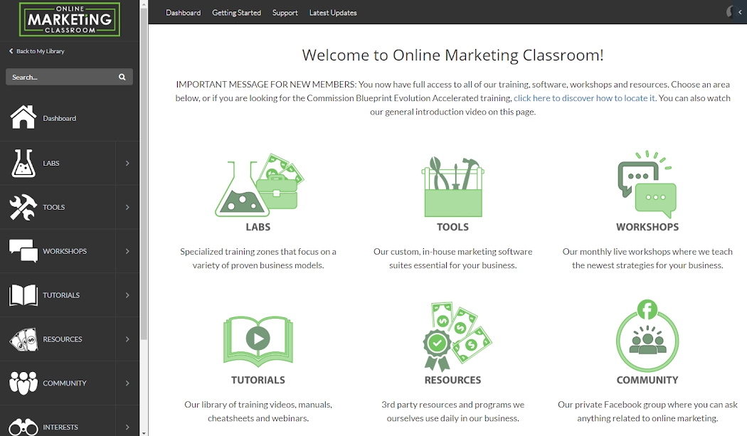 image of Online Marketing Classroom backend